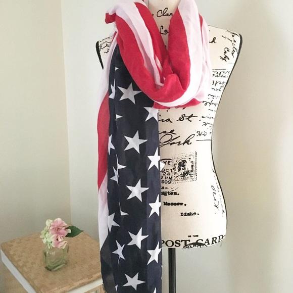 Old Navy Accessories - Old Navy sheer Patriotic blanket scarf • NWT